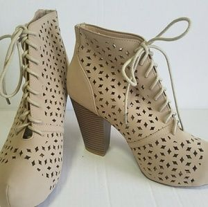 Lace Up Booties Bamboo